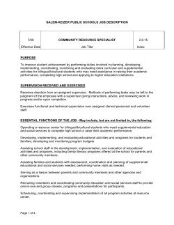 SALEM-KEIZER PUBLIC SCHOOLS JOB DESCRIPTION 7/09