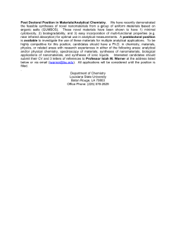 Post Doctoral Position in Materials/Analytical Chemistry. We have