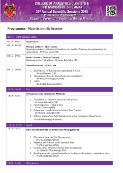 Programme - Main Scientific Session