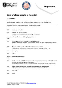 Programme Care of older people in hospital