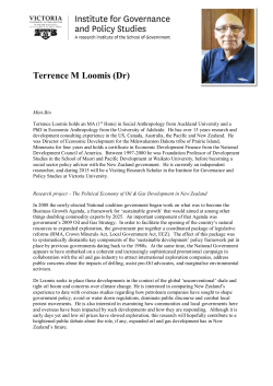 Terrence M Loomis (Dr) - Institute for Governance and Policy Studies
