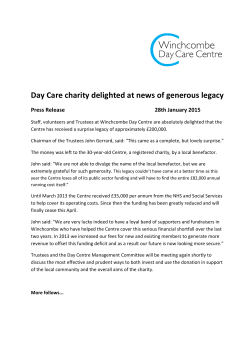 Day Care charity delighted at news of generous legacy