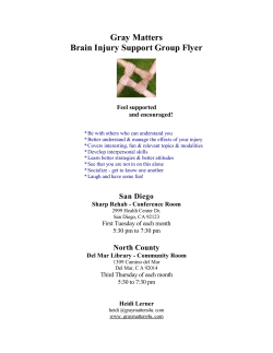 Gray Matters Brain Injury Support Group Flyer