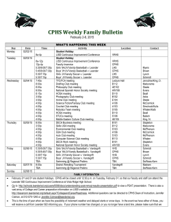 CPHS Weekly Family Bulletin - Leander Independent School District
