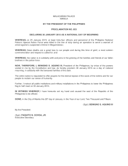 proc. no. 953: declaring 30 january 2015 as a national day of