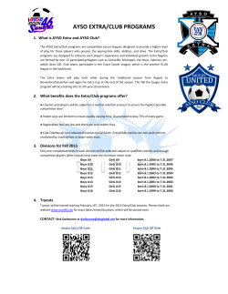 AYSO EXTRA/CLUB PROGRAMS