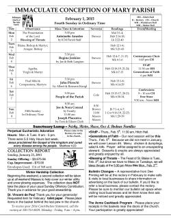 Bulletin-2015-02-01 - Immaculate Conception of Mary Church
