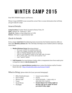 Winter Camp 2015 Packing list