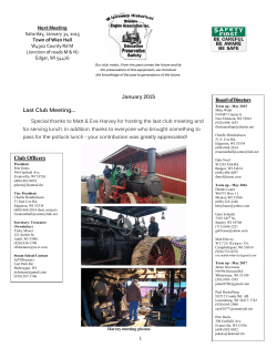 January Newsletter - Wisconsin Historic Steam Engine Association