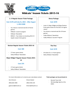 2015-16 Season Ticket Package Information