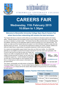 CAREERS FAIR - Stranmillis University College