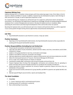 Job Description - Capstone Mining Corp.