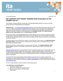 Download the Fraser Valley Apprenticeship Advisor News Release