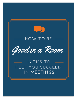 How To Be Good In A Room