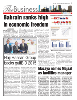 Bahrain ranks high in economic freedom