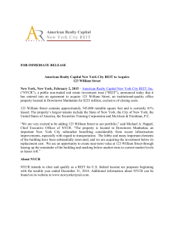 Read Press Release - American Realty Capital New York City REIT