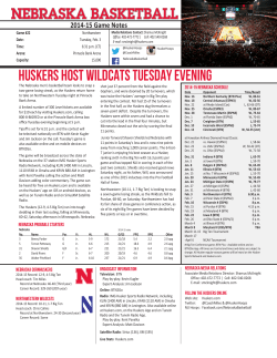 HUSKERS HOST WILDCATS TUESDAY EVENING
