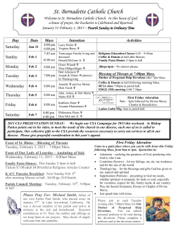 Bulletin page 1 - St. Bernadette Catholic Church