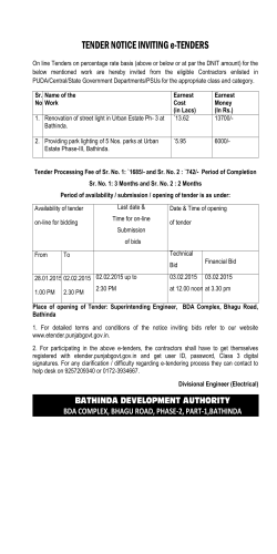 TENDER NOTICE INVITING e-TENDERS