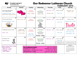 Calendar - Our Redeemer Lutheran Church