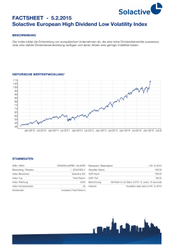 FACTSHEET - Solactive European High Dividend Low Volatility