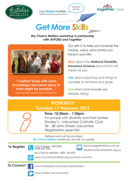 To Connect WORKSHOP Tuesday 17 February 2015
