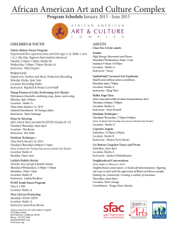 Program Schedule - African American Art and Culture Complex