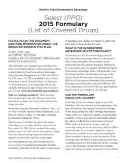 2015 Select Comprehensive Formulary