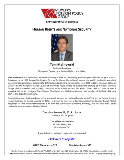 HUMAN RIGHTS AND NATIONAL SECURITY Tom Malinowski