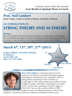 a course on string theory and M-theory