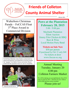 Winter 2014 - Friends of the Colleton County Animal Shelter