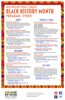PROGRAMS / EVENTS - New Orleans Public Library