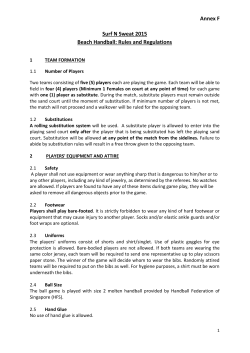 Annex F Surf N Sweat 2015 Beach Handball: Rules and Regulations