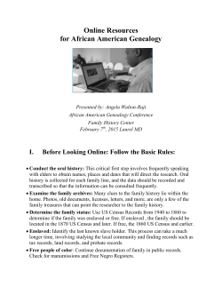 Online Resources for African American Genealogy