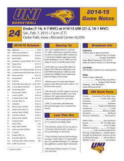 Weekly Release - University of Northern Iowa Athletics
