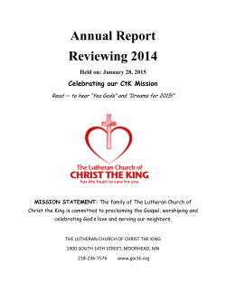 Annual Report - The Lutheran Church of Christ the King
