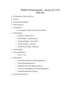 ASMSU Senate Agenda – January 29, 2015 SUB 235