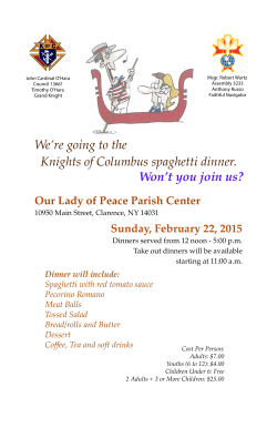 KOC Spaghetti dinner poster2 - WNY Chapter of Knights of Columbus