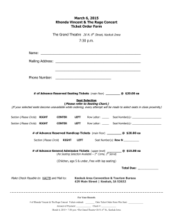 Concert Ticket Order Form - Keokuk Area Convention and Tourism