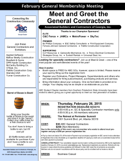 Meet and Greet the General Contractors February 26