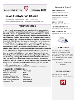 ECHO january 2015 - Union Presbyterian Church