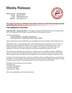 Media Release - Cape Cod Soccer Officials Association