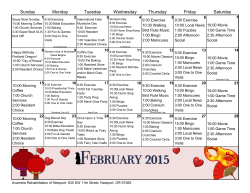 Monthly Activity Calendar - Avamere Rehab of Newport