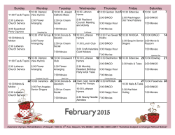 Monthly Activity Calendar - Avamere Olympic Rehabilitation of Sequim
