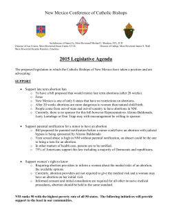 2015 NM Legislation - Diocese of Las Cruces
