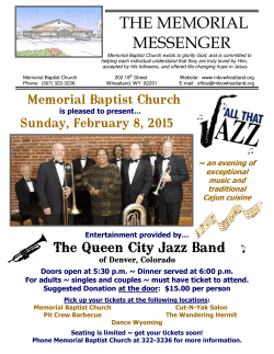 THE MEMORIAL MESSENGER - Memorial Baptist Church