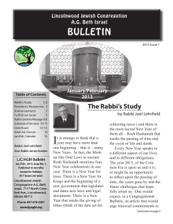 January-February 2015 Bulletin - Lincolnwood Jewish Congregation