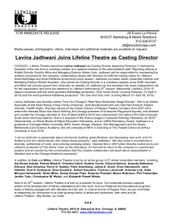 Lavina Jadhwani Joins Lifeline Theatre as Casting Director