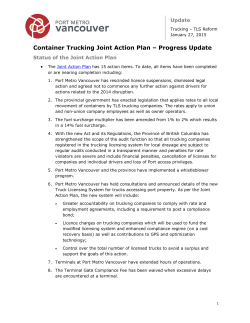 Container Trucking Joint Action Plan – Progress Update