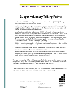 Budget Advocacy Talking Points
